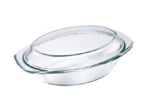 Hőálló üvegtál fedővel, ovális, 2 l BL-2012