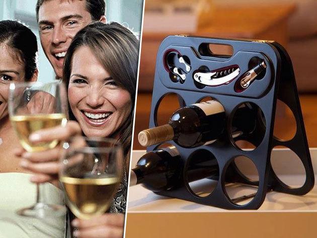 Asztali borosüveg tartó állvány kiegészítőkkel - 6 palack tárolására dugóhúzóval, cseppőrrel és fóliavágóval