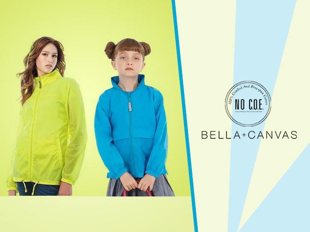 Bella&Canvas gyermek, női és férfi vízálló széldzsekik, a szivárvány színeiben