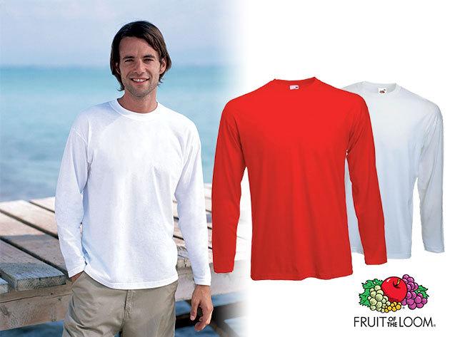 2 db 100% pamut Fruit of the Loom férfi hosszú ujjú póló fehér vagy piros színben!