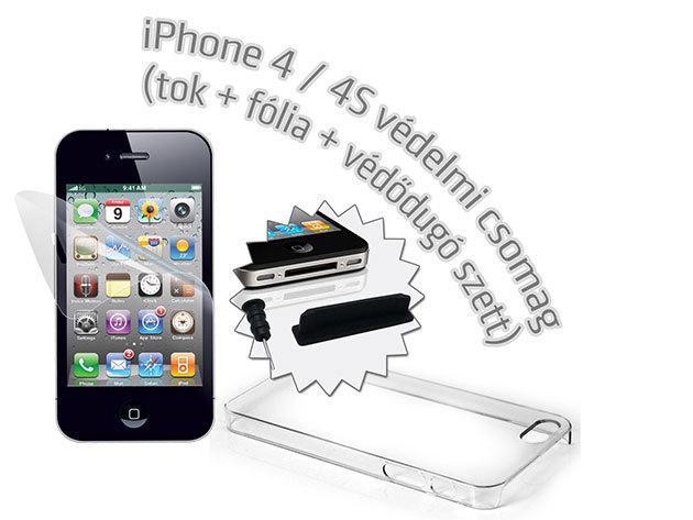 Átlátszó iPhone 4, 4S  telefontok + képernyővédő fólia + védődugó