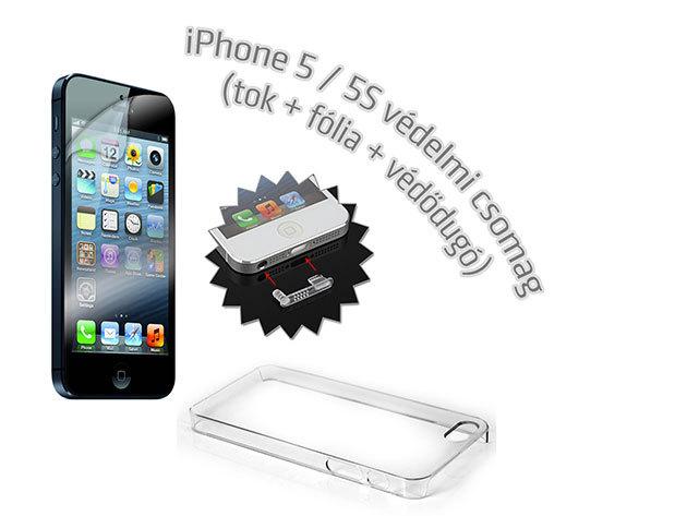 Átlátszó iPhone 5, 5S telefontok + képernyővédő fólia + védődugó