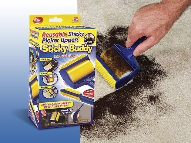 Sticky Buddy szett - 2 db tisztító henger, mely eltakarítja a szöszt, morzsát és a macskaszőrt