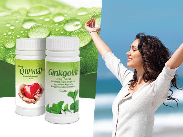 GingkoVit az agyi keringési rendszerért, és Q10 Vitál a szív egészségéért