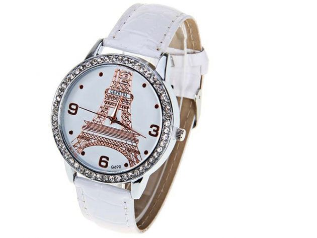 Fehér szíjas karóra Eiffel torony számlappal