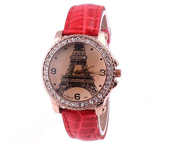 Piros szíjas karóra Eiffel torony számlappal