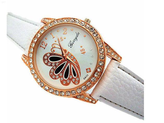 Fehér szíjas karóra pillangós számlappal