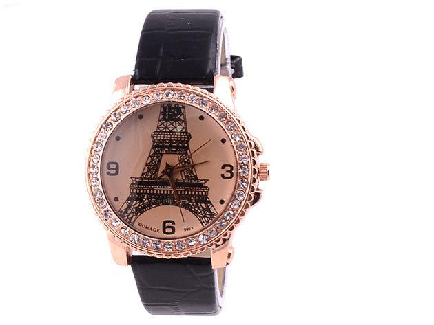 Fekete szíjas karóra Eiffel torony számlappal