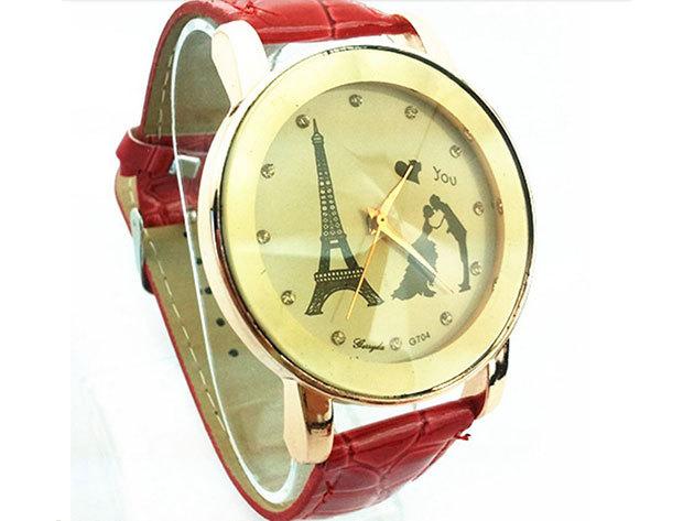 Piros szíjas karóra 'Eiffel torony és szerelmespár' számlappal