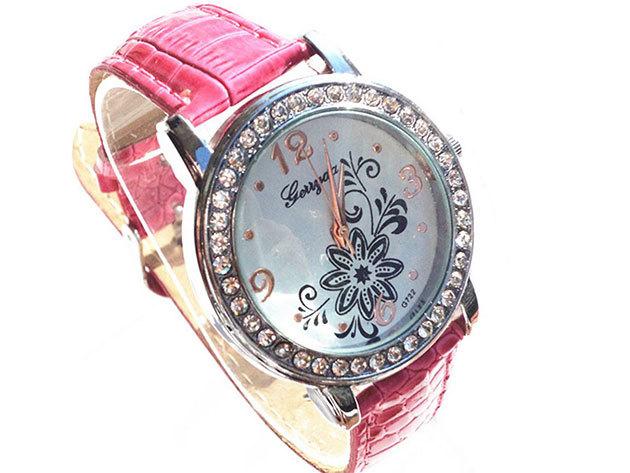 Pink szíjas karóra virágos számlappal