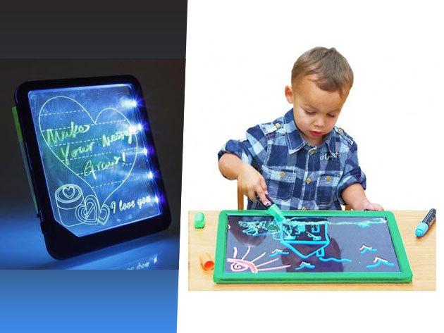 LED-es, neon színekben világító rajzolótábla gyerekeknek 4 'varázstollal'