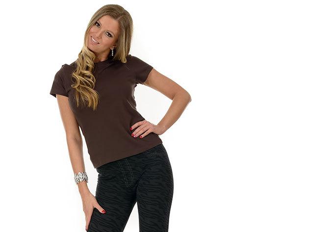 Női karcsúsított póló - barna