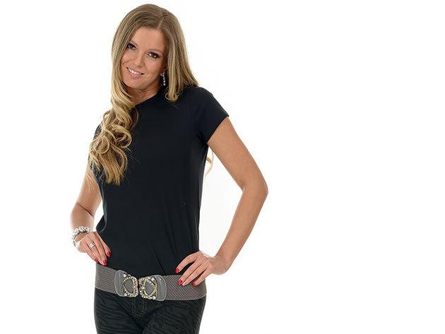 Női karcsúsított póló - fekete
