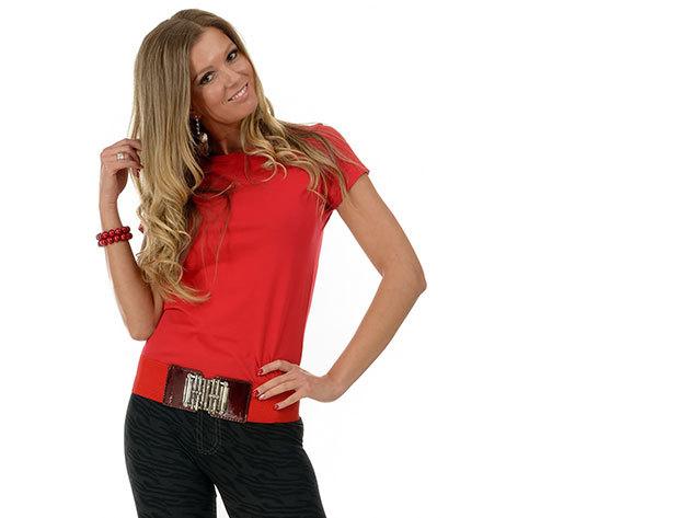 Női karcsúsított póló - piros