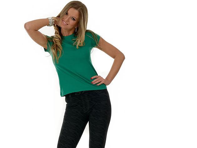 Női karcsúsított póló - zöld