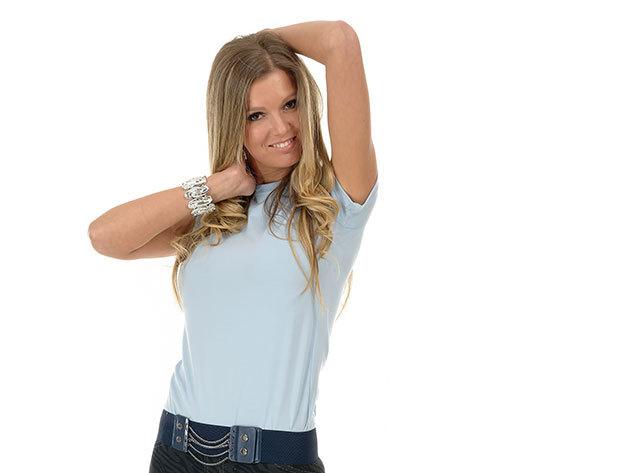 Női karcsúsított póló - világoskék