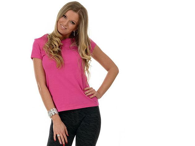 Női karcsúsított póló - pink