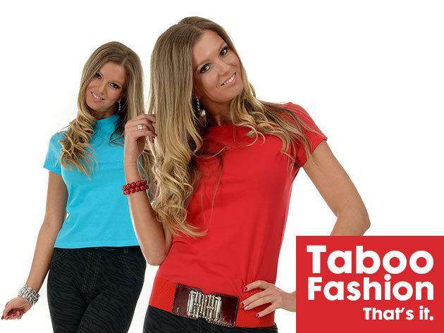 Rövid ujjú női póló a Taboo Fashiontól - karcsúsított, pamut, gazdag színválasztékkal