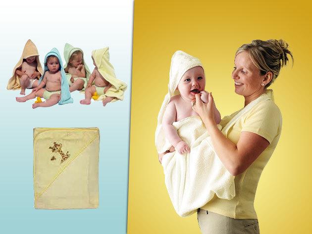 """Kapucnis babatörölköző - """"baba kifogó"""" pasztell színekben, 90x90 cm-es méretben"""