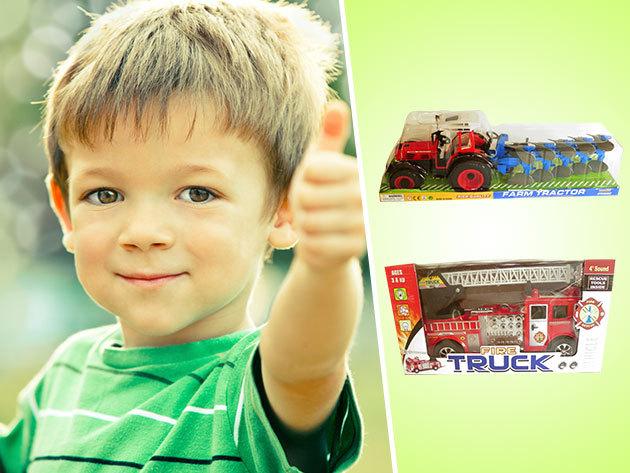 Traktor, Úthenger és Tűzoltó autó - Elemmel működő kerti játékok, ideális húsvéti ajándék gyermekeknek!