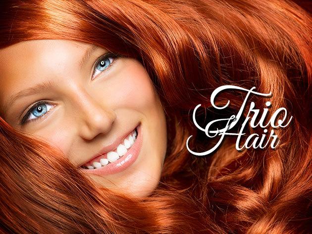 Női hajvágás ózonbúrás kezeléssel a Trio Hair Hajgyógyászatnál, a belvárosban