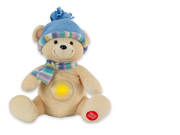 Tobi Plüss maci figura éjjeli fény és altatódal funkcióval
