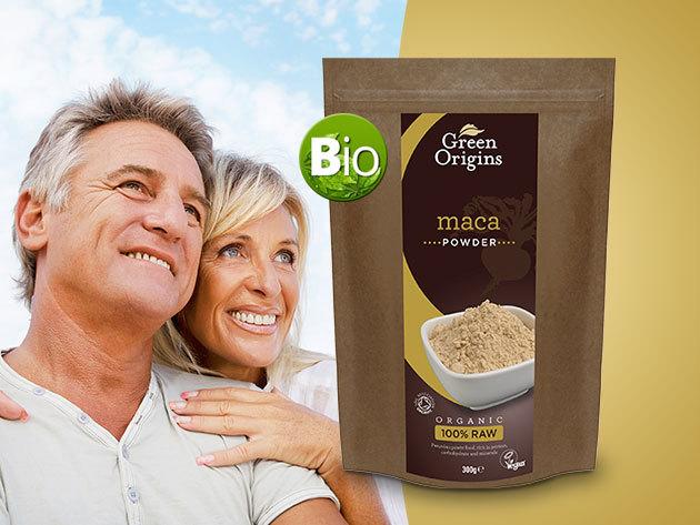 Green Origins BIO MACA gyökér por, 300 g - az érett korú férfiak és nők erőnlétéért, afrodiziákum hatással