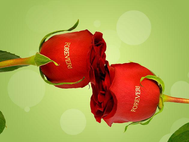 Örök rózsacsokor virággravírozással ballagásra és anyák napjára!
