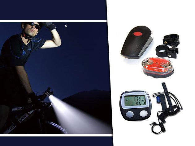 Digitális kilométeróra kerékpárra + extra erős fényű LED-es  lámpa szett