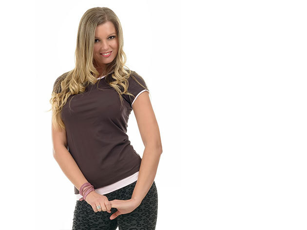 Barna-Rózsaszin rövid ujjú póló