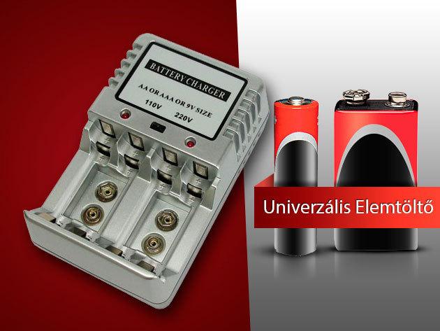 Univerzális elemtöltő akkumulátorokkal: 4 db AA + 4 db AAA + 1 db 9V-os akku