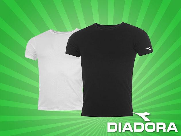 Diadora póló fekete és fehér színben, 100% pamutból - a sportosan elegáns férfiaknak