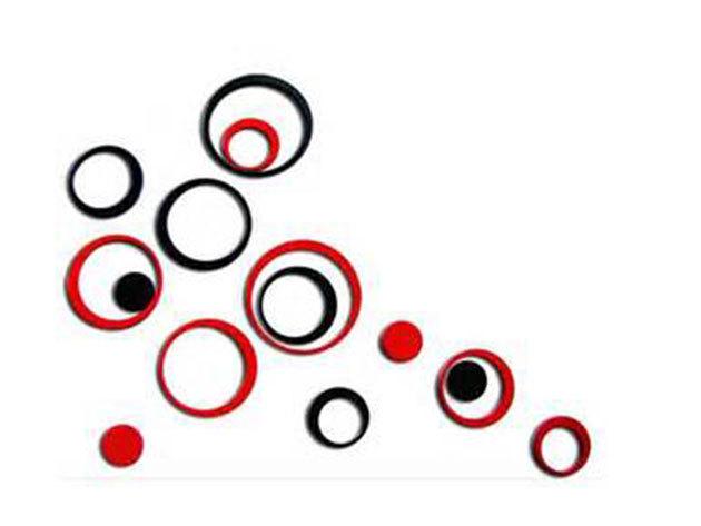 Piros-fekete 3D hatású falmatrica szett (A csomag 7db piros és 7db fekete kör alakú matricát tartalmaz. A legnagyobb átmérője 27cm, a legkisebb 4cm.)