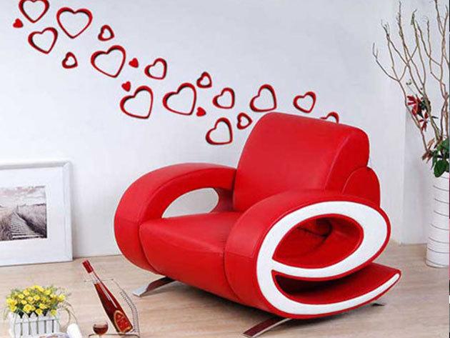 Piros és rózsaszín szívek 3D hatású falmatrica szett (13 db piros és 13 db rózsaszín szívet tartalmaz. A legnagyobb átmérője 25, a legkiseb 8cm)