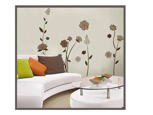 Prémium szürkés-barna virágok falmatrica (Mérete kb 120x50 cm)