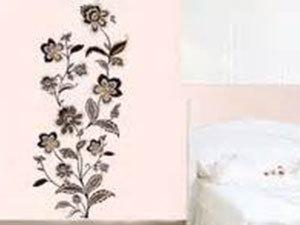 Prémium szürke-óarany-ezüst virág mintás falmatrica (A minta mérete kb 120x50 cm)