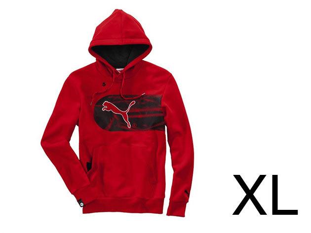 Puma Logo Hooded férfi, piros pamut felső (XL)