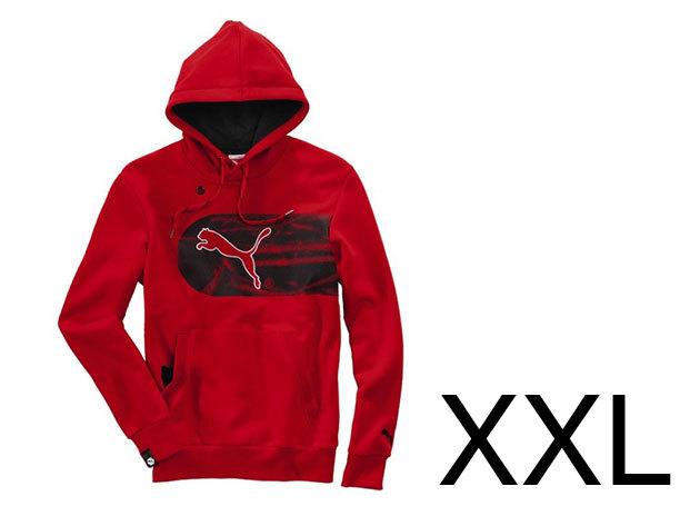 Puma Logo Hooded férfi, piros pamut felső (XXL)