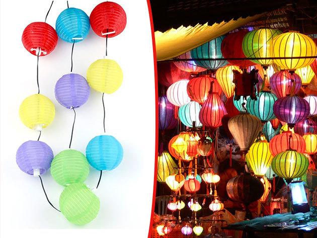 Napelemes lampionfüzér 10 db színes lampionnal 2,4 m hosszú vezetéken - hangulatvilágítás a teraszon vagy a kertben