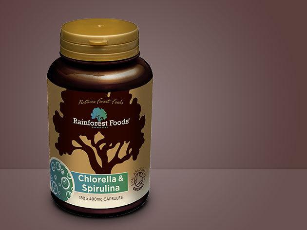 Rainforest Foods BIO CHLORELLA és SPIRULINA tabletta - 300 tabletta / tégely