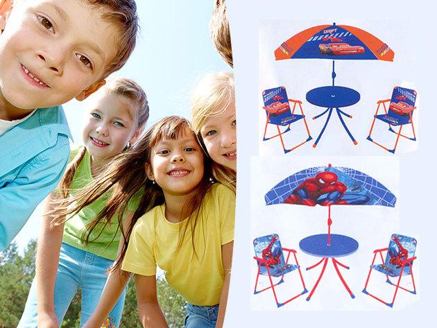 Disneys gyermek kerti bútor garnitúra - Micimackó, Verdák és Pókember mintával