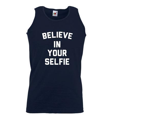 'Believe in your selfie' - ujjatlan férfi póló