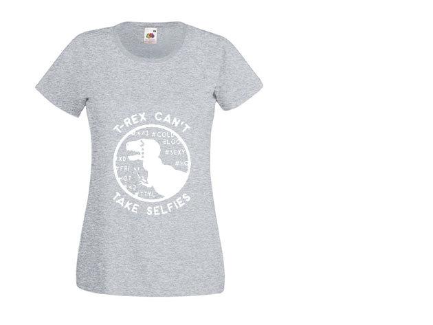 'T-rex Selfie' - kerek nyakú női póló