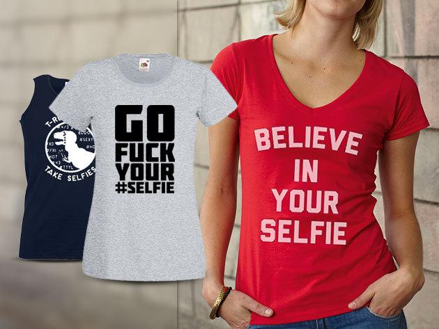 Női és férfi SELFIE pólók egyedi mintákkal, több színben - Készíts ördögi, vagy épp angyali képeket magadról!