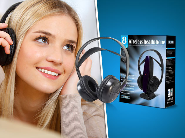 Vezeték nélküli 8 az 1-ben rádiófrekvenciás fejhallgató - Super Bass hangminőség