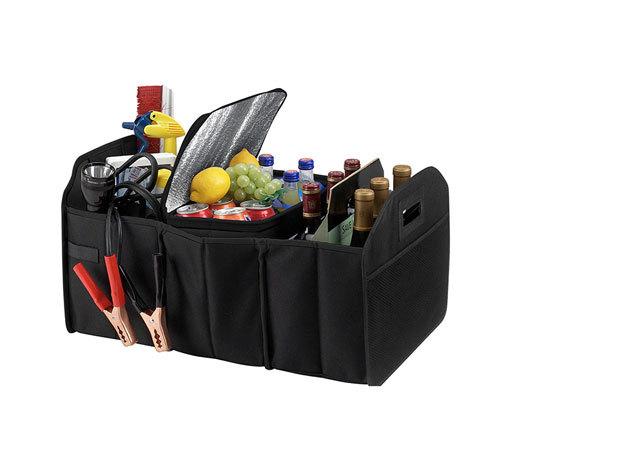 Autó csomagtartóba való többrekeszes tároló + hőszigetelt lappal borított tároló