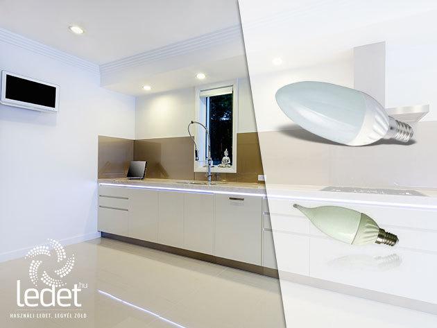 4W-os energiatakarékos LED fényforrások E14 foglalattal, 3 év garanciával