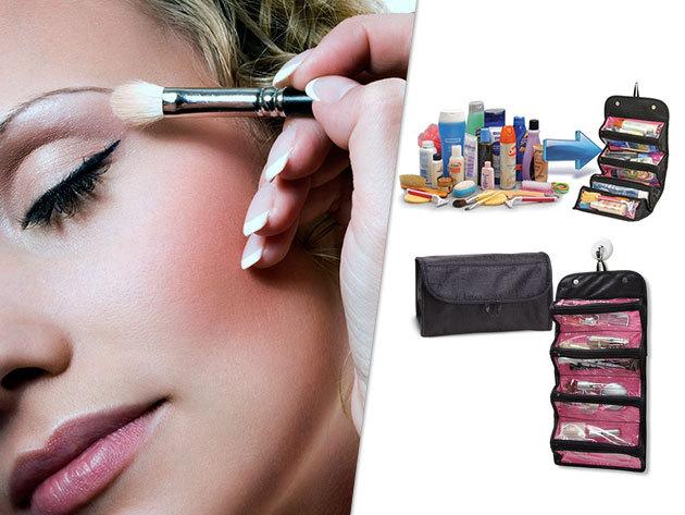Roll-N-Go Praktikus, szétnyitható design kozmetikai táska, 4 átlátszó rekesszel