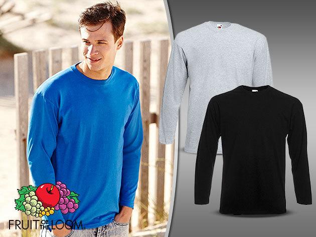 35ac07212a Fruit of the Loom hosszú ujjú férfi póló (S-XXL), 100% pamutból - fehér,  fekete és szürke színben