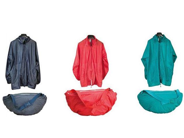 Övtáskává összehajtható kapucnis esőkabát 3 színben